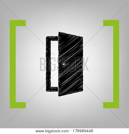 Door sign illustration. Vector. Black scribble icon in citron brackets on grayish background.