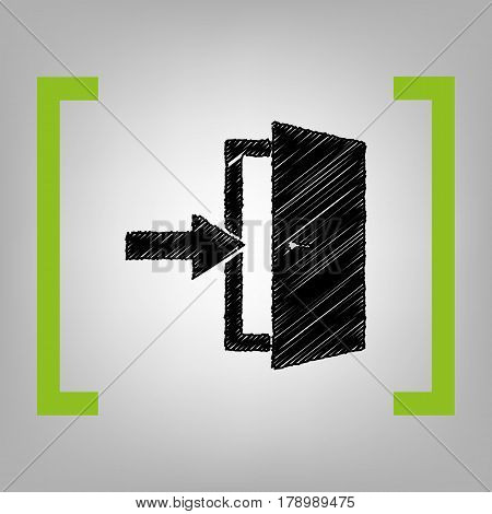 Door Exit sign. Vector. Black scribble icon in citron brackets on grayish background.