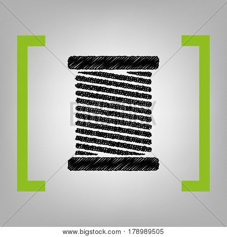 Thread sign illustration. Vector. Black scribble icon in citron brackets on grayish background.