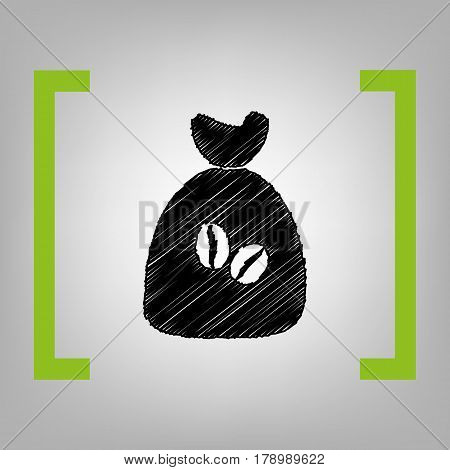 Coffee bag Icon. Coffee bag Vector. Coffee bag Icon Button. Vector. Black scribble icon in citron brackets on grayish background.