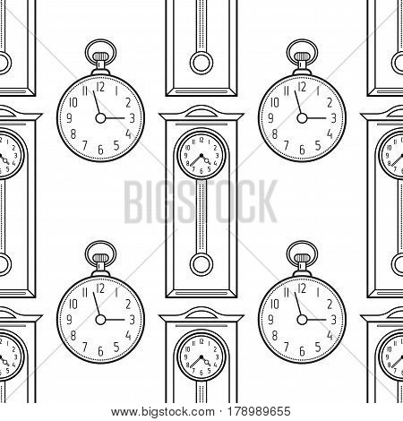 Pocket watches and grandfather clock, flat linear objects. Black and white seamless pattern for coloring book