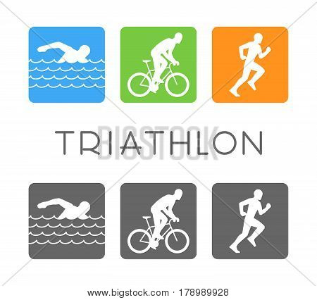 Vector flat logo triathlon. Figures triathletes on white background. Swim bike and run icon.