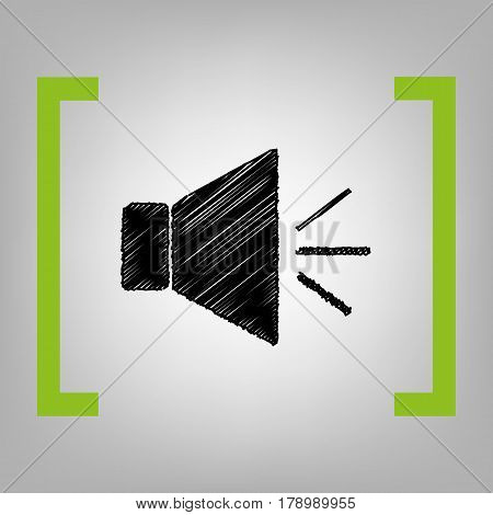 Sound sign illustration with mute mark. Vector. Black scribble icon in citron brackets on grayish background.