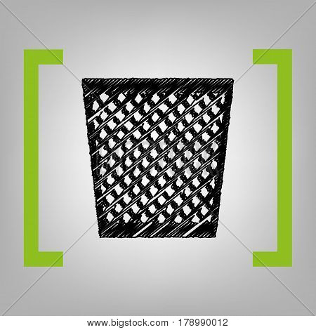 Trash sign illustration. Vector. Black scribble icon in citron brackets on grayish background.