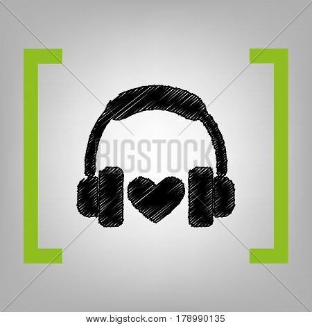 Headphones with heart. Vector. Black scribble icon in citron brackets on grayish background.