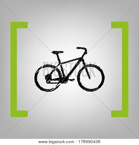 Bicycle, Bike sign. Vector. Black scribble icon in citron brackets on grayish background.