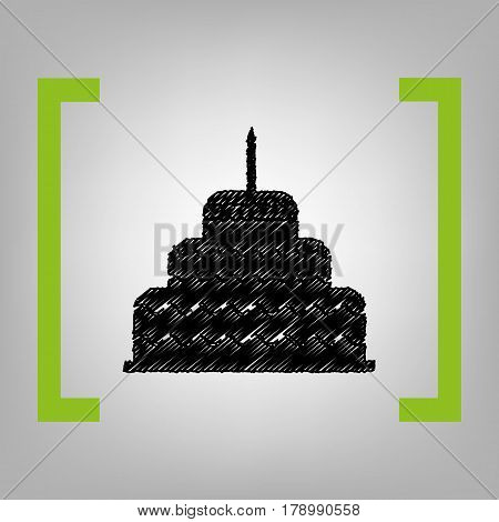 Cake with candle sign. Vector. Black scribble icon in citron brackets on grayish background.