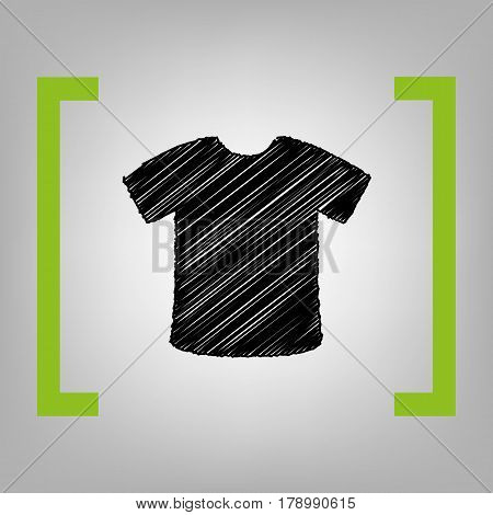 T-shirt sign. Vector. Black scribble icon in citron brackets on grayish background.