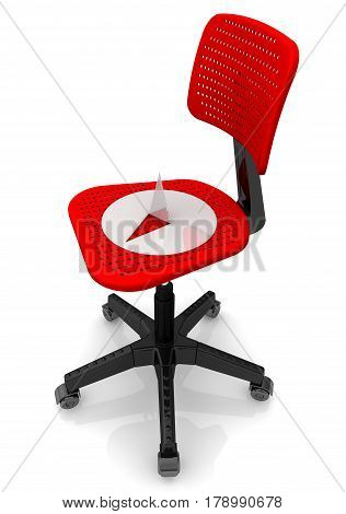 Thumbtack lying on an office chair. A large and sharp thumbtack lying on an office chair. Isolated. 3D Illustration