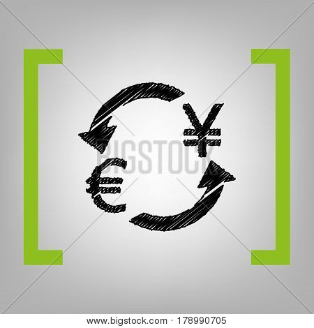Currency exchange sign. Euro and Japan Yen. Vector. Black scribble icon in citron brackets on grayish background.