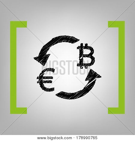 Currency exchange sign. Euro and Bitkoin. Vector. Black scribble icon in citron brackets on grayish background.