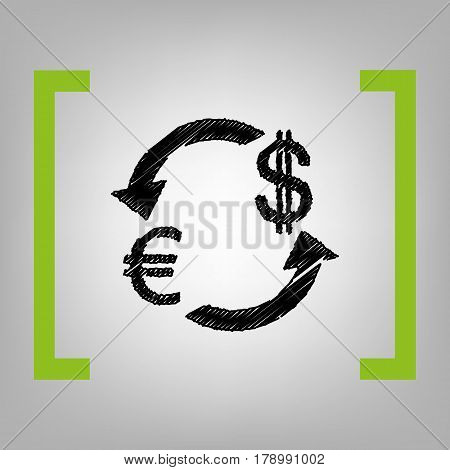 Currency exchange sign. Euro and US Dollar. Vector. Black scribble icon in citron brackets on grayish background.