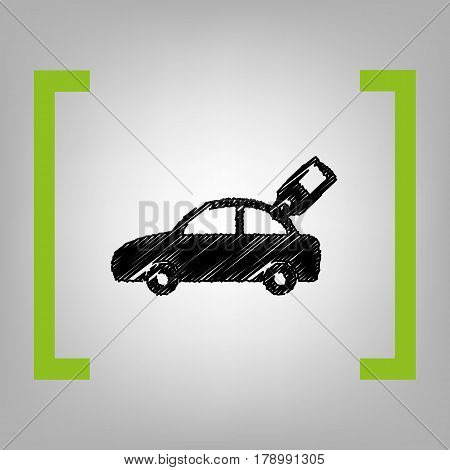 Car sign with tag. Vector. Black scribble icon in citron brackets on grayish background.