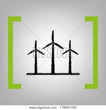 Wind turbines sign. Vector. Black scribble icon in citron brackets on grayish background.