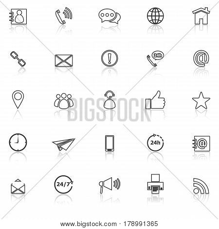 Contact us line icons with reflect on white background, stock vector
