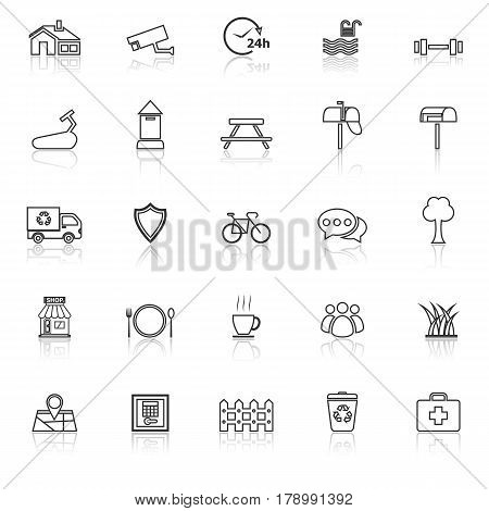 Village line icons with reflect on white background, stock vector