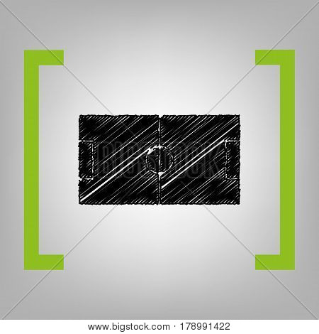 Soccer field. Vector. Black scribble icon in citron brackets on grayish background.