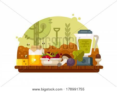 Organic food vegetables fruits, mushrooms and honey. Growing eco clean nutrition. Vector illustration