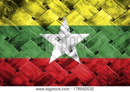 Burma flag , Burma flag on Weave Bamboo