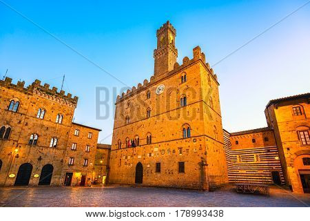Volterra town central square medieval palace Palazzo Dei Priori landmark Pisa state Tuscany Italy Europe