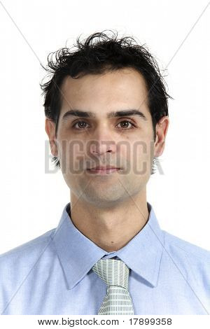 close-up young businessman, isolated on white background
