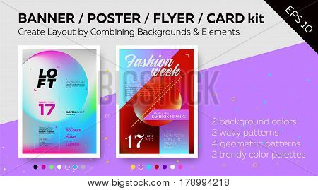 Texture for Web Banners Invitation Cards Business Cards Party Posters and Advertisement Flyers. Set of Bright Vector Poster Templates with Text Grids. Trendy Geometric Patterns Minimal Design Colorful Backgrounds. Ready Palettes and Additional Elements.