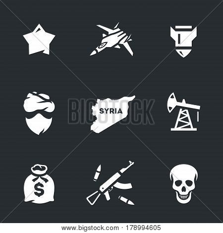 Star, fighter, bomb, criminal, territory, oil, money, weapons, skull.