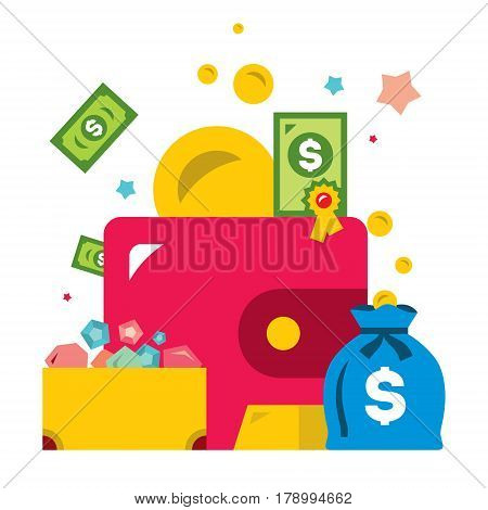 Finance, purse, treasure chest, gold bullion, securities, money bag. Isolated on a white background