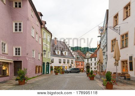 Fussen Germany - June 4 2016: View of pedestrian historical street in Fussen with typical bavarian architecture buildings.