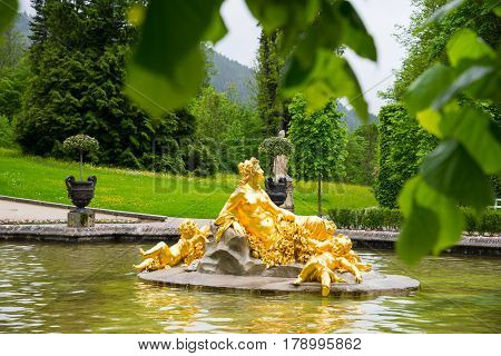 Linderhof Palace. Fountain Group Flora And Puttos. Bavaria, Germany.