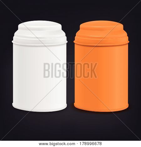 Round Tin Packaging Set In White And Orange