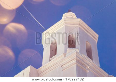 The steeple of a Spanish Mission in Arizona.