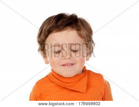 Tired baby with eyes closed isolated on a white background