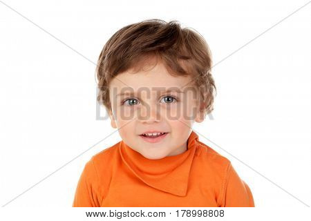 Beautiful little child two years old with orange jersey isolated on a white background