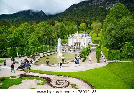 Famous Linderhof Palace And Fountain Group, Ettal, Bavaria, Germany.