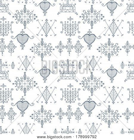 Seamless pattern with Voodoo spirits symbols. Seals of main Voodoo deities. Spiritual, magical, cultura art. Magic cult isolated repetition background. Mystic, alchemy, occult concept, religion.
