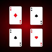 Ace set vector . Diamonds Ace. Spade ace. Club Ace. Playing cards vector set. poster
