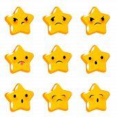 Emotional star cute sad poor faces smiles big set. Vector illustration smile icon. Face emoji yellow icon. Smile funny emotion face. Sad triste feelings expression message sms. poster