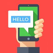 Hand holding smartphone with hello message on screen. Instant messaging, IM, SMS text messaging, online chat concept. Modern graphic elements for websites, web banners. Flat design vector illustration poster