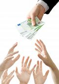 the businessman holds and gives money in hands poster