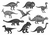 Dinosaurs or dino jurassic cartoon characters of t-rex tyrannosaurus, brontosaurus and triceratops lizard, pterosaur or pterodactyl bird. Vector isolated icons set poster