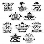 Barber shop icons. Beards, mustaches and barber tools shaving razor or scissors, hairbrush comb and hair dryer. Vector set for barbershop salon, premium hairdresser coiffeur or haircutter pole poster