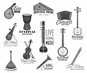 Live music concert or festival vector template icons. Musical instrument gusli harp and flute pipe, accordion or bayan harmonic, drum and balalika, lute or biwa and koto. Vector isolated set poster