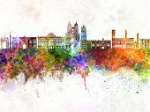 Sucre skyline artistic abstract in watercolor background poster