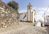Nossa Senhora das Candeias parish church in Cabeco de Vide town, Fronteira, Portalegre District, Portugal poster
