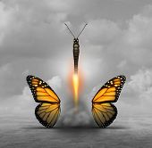 Optimize and optimization or achieving more with less concept as a butterfly letting go of wings while taking off like a rocket booster as a business or life metaphor for minimalism or to simplify with 3D illustration elements. poster