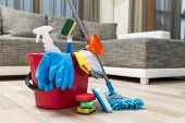 Cleaning service. Bucket with sponges, chemicals bottles and mopping stick. Rubber gloves, plunger and towel. Household equipment. poster