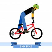 Bicyclist on bmx bike. Simple side view clipart drawing in flat color. Isolated bmx bicycle vector illustration poster