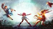 Cartoon illustration of a warrior girl blasting magic power attack to women witch and sorcerer in Japanese manga fantasy concept. poster