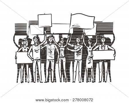 Crowd Of People With Placards On Demonstration. Manifestation, Protest Sketch. Vector Illustration